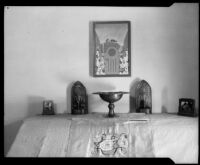 Stylized landscape painting and decorative metalwork objects by a Otis Art Institute students, Los Angeles, 1918-1939