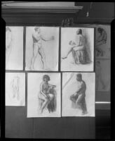 Drawings of nudes in the Otis Art Institute end-of-year student exhibition, Los Angeles, 1921