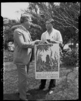 Benji Okubo receiving an award from J. Y. Blaikie for a poster that he created for the California Botanic Garden, Los Angeles, 1928