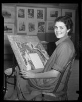 Otis Art Institute student working on a painting, Los Angeles, 1933