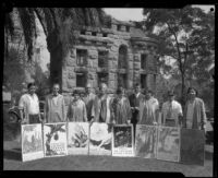 Otis Art Institute students with posters created for the California Botanic Garden, Los Angeles, 1928