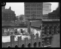 Demolition before the construction of City Hall, Los Angeles, ca. 1927