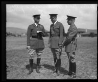 Major General Malin Craig, Lieutenant Colonel M. A. Cross and Lieutenant Colonel W. J. MacMillan congregate, San Pedro, 1931