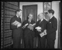 Judges Arthur Crum, Wilbur C. Curtis, and R. Morgan Galbreth congratulate Municipal Judge Joseph Chambers, Los Angeles, 1935