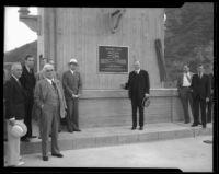 Herbert Hoover at the dedication of Morris Dam, Los Angeles, 1934