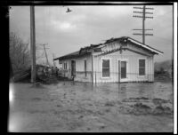 Flood damaged house following the failure of the Saint Francis Dam, Santa Clara River Valley (Calif.), 1928