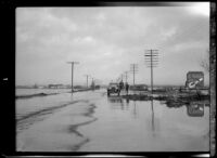 Flooded road and surrounding area following the failure of the Saint Francis Dam, Santa Clara River Valley (Calif.), 1928