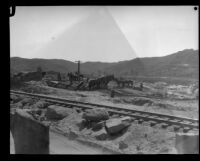 Teams of horses and workers engaged in reconstruction following the failure of the Saint Francis Dam and resulting flood, Santa Clara River Valley (Calif.), 1928