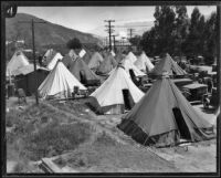 Tent camp for the relief effort following the failure of the Saint Francis Dam and resulting flood, Santa Clara River Valley (Calif.), 1928