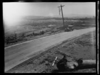 Damaged utility pole in the path of the flood that followed the failure of the Saint Francis Dam, Santa Clara River Valley (Calif.), 1928