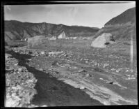 Concrete dam debris in the path of the flood following the failure of the Saint Francis Dam, San Francisquito Canyon (Calif.), 1928