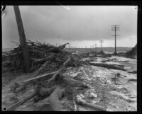 Roadway littered with debris deposited by the flood that followed the failure of the Saint Francis Dam, Santa Clara River Valley (Calif.), 1928
