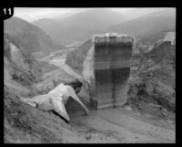 View of the remaining center portion of the St. Francis Dam visible after its disastrous collapse, San Francisquito Canyon (Calif.), 1928