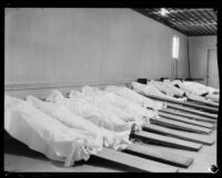 Emergency morgue with bodies of victims of the flood that followed the failure of the Saint Francis Dam, Newhall (Calif.), 1928