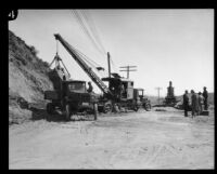 Road work after the flood resulting from the failure of the Saint Francis Dam, Santa Clara River Valley (Calif.), 1928