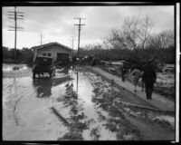 House washed by flood into middle of street after the failure of the Saint Francis Dam, Santa Paula (Calif.), 1928