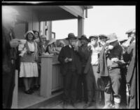 Five Red Cross workers serving coffee to relief workers or engineers and geologists after the flood following the failure of the Saint Francis Dam, Santa Clara River Valley (Calif.), 1928