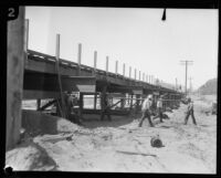 Bridge under construction after the flood following the failure of the Saint Francis Dam, Santa Clara River Valley (Calif.), 1928