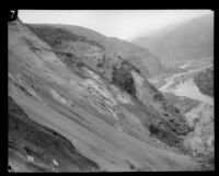 View of the path of the flood following the failure of the Saint Francis Dam, San Francisquito Canyon (Calif.), 1928