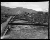 Residential area devastated by the flood following the failure of the Saint Francis Dam, Santa Clara River Valley (Calif.), 1928