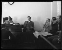 Coroner Frank Nance and engineer H. A. Van Norman at the Coroner's Inquest following the failure of the Saint Francis Dam, Los Angeles, 1928
