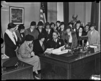 Chief James E. Davis with the Parent Teachers Association, Los Angeles, circa 1935