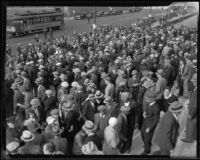 Crowd on City Hall steps for unemployed meeting, Los Angeles, 1929-1939