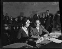 Daisy De Voe and Nathan Freedman in court for her trial, Los Angeles, 1931
