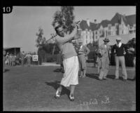 Leo Diegel in full swing at the Wilshire Country Club, Los Angeles, 1928-1934