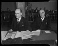 Phil Dodson and Harry J. Brown in courtroom, Los Angeles, 1920-1939