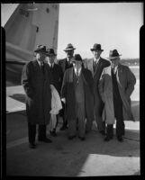 John M. Carmody, William Morris Leiserson, James W. Carmalt, P. A. Donoghue, Towne J. Nylander, and William F. Mitchell at Grand Central Air Terminal, Glendale, 1934