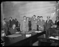 Courtroom scene during Gordon Stewart Northcott's murder trial, Riverside, 1929
