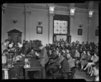 Gordon Stewart Northcott in courtroom during his murder trial, Riverside, 1929