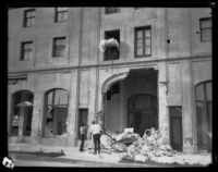 View of earthquake-damaged institutional or commercial building after the Long Beach earthquake, Southern California, 1933