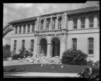 Theodore Roosevelt School heavily damaged by an earthquake, Long Beach, 1933