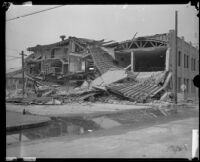 Building destroyed by the Long Beach earthquake, Southern California, 1933