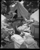 People camping in tents in a city park after the Long Beach earthquake, Southern California, 1933