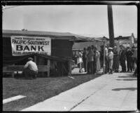 People at a temporary bank after the earthquake, Santa Barbara, 1925