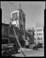 Commercial building with tower damaged by the Long Beach earthquake, Southern California, 1933