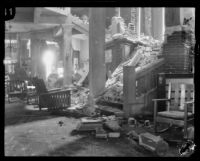 Interior view of a building heavily damaged by the Long Beach earthquake, Southern California, 1933