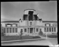 Lowell School damaged by the earthquake, Long Beach, 1933