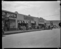 La Luz de Watts and other stores on 103rd St. after the Long Beach earthquake, Watts (Los Angeles), 1933