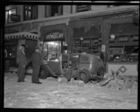 Building and automobile on Beacon Street damaged by the Long Beach earthquake, San Pedro, 1933