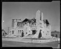 Methodist Episcopal Church heavily damaged during the Long Beach earthquake, Southern California, 1933
