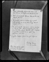 Handwritten note dated March 3rd predicting dire events in including the March 10 Long Beach earthquake in the near future, 1933