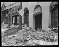 Earthquake-damaged building occupied by the Rossmore Hotel, Santa Ana, 1933