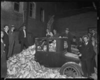 Automobile in brick rubble after the Long Beach earth quake, Southern California, 1933