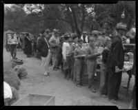 Boys in line for food at an aid station after the Long Beach earthquake, Southern California, 1933