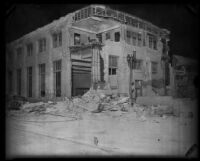 Building heavily damaged by the Long Beach earthquake, Southern California, 1933