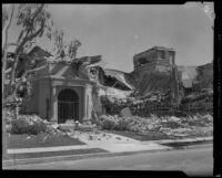Jefferson Junior High School destroyed by an earthquake, Long Beach, 1933